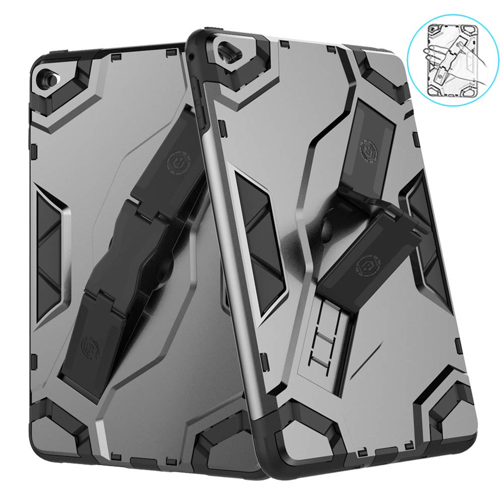 VORI iPad Mini 5 Case 2019, (Kickstand/Hand Strap 2-in-1) Heavy Duty Shockproof Impact Resistant Soft TPU Protective Rugged Stand Cover for iPad Mini 5th Generation 7.9 Inch, Black