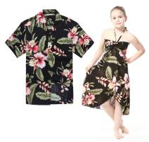 Matching Hawaiian Luau Outfit Men Shirt Girl Dress in Black Rafelsia