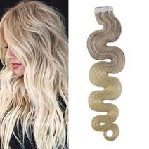Moresoo 12 Inch Tape in Hair Wavy Extensions Human Hair Balayage Color #18 Fading to #22 and #60 Tape in Hair Extensions Human Hair Full Head 30 Grams 20 Pieces Seamless Skin Weft Hair