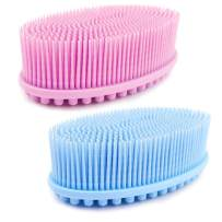 Avilana Exfoliating Silicone Body Scrubber Easy to Clean, Lathers Well, Eco Friendly, Long Lasting, And More Hygienic Than Traditional Loofah (Pink & Blue)