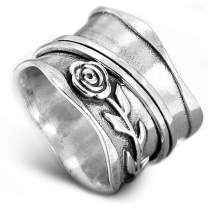 Boho-Magic 925 Sterling Silver Spinner Ring for Women Rose Flower Fidget Anxiety Relief Wide Band