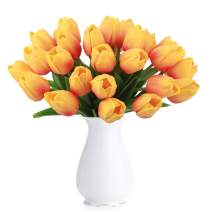 BOMAROLAN Artificial Tulip Fake Holland Mini Tulip Real Touch Flowers 24 Pcs for Wedding Decor DIY Home Party (Sunset Color)