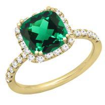 Dazzlingrock Collection 18K 7.5 MM Cushion Lab Created Gemstone & Round Diamond Bridal Engagement Ring, Yellow Gold