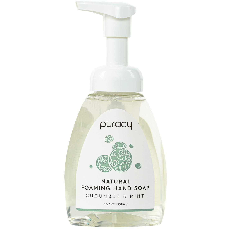 Puracy Natural Foaming Hand Soap Set, Cucumber & Mint, Moisturizing Hand Wash Bottle & Refill, 73-Ounce