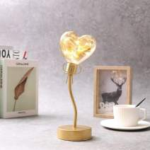 """JHY DESIGN Heart Light Battery Operated Room Decor 11.5"""" Tall Cordless Heart Shaped Light for Wedding Parties(Gold Single Heart)"""
