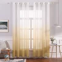 MIULEE 2 Panels Linen Sheer Curtain Voile Grommet Top Semi Translucent Gradient Curtains Window Treatment for Bedroom Living Room Ombre Yellow 54x96 Inch