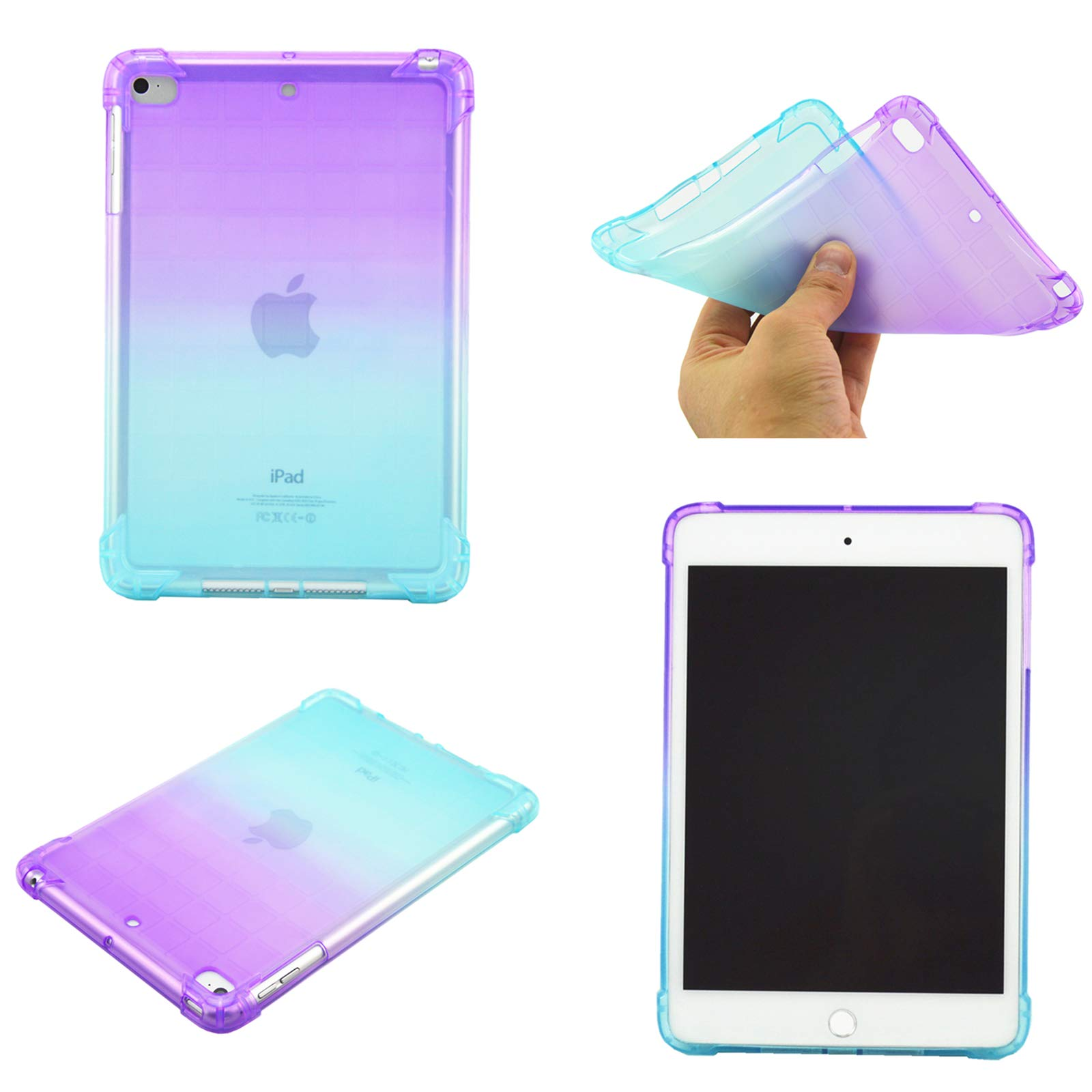 iPad Mini 5 Case Mini 1 2 3 4 Cover, MonsDirect Soft TPU Transparent Case Shockproof Rubber Impact Resistant Back Cover for iPad Mini 1 2 3 4 5, Purple and Apple Green