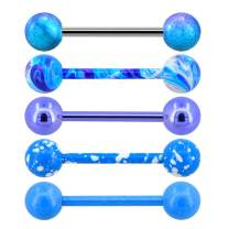 Jewseen Tongue Bars 5PCS 14G 316L Stainless Steel Tongue Barbell Piercing Blue Painting Swirl Splatter Tongue Rings for Women