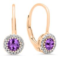 Dazzlingrock Collection 10K Ladies Halo Style Dangling Drop Earrings, Rose Gold