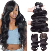Premium 10A Brazilian Body Wave Bundles with Closure (14 16 18''+12'') 100% Unprocessed Virgin Human Hair Weave, Soft Brazilian Virgin Hair Body Wave with Closure 3 Part With Baby Hair, Natural Color