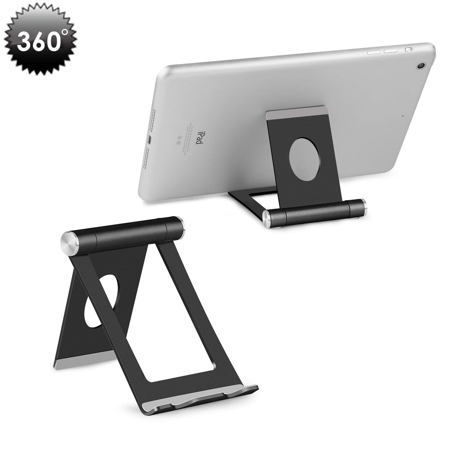 "Cell Phone Stand, YOSHINE Portable Phone Stand: Full 360° Adjustable Cell Phone Holder Cradle Dock for Phone Xs XR X 8 7 6 6S Plus, Universal Aluminium Stand for Cellphones & Tablets (4-10.1"") - Black"