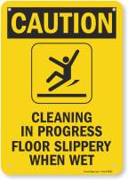 "SmartSign ""Caution - Cleaning In Progress, Floor Slippery When Wet"" Sign 
