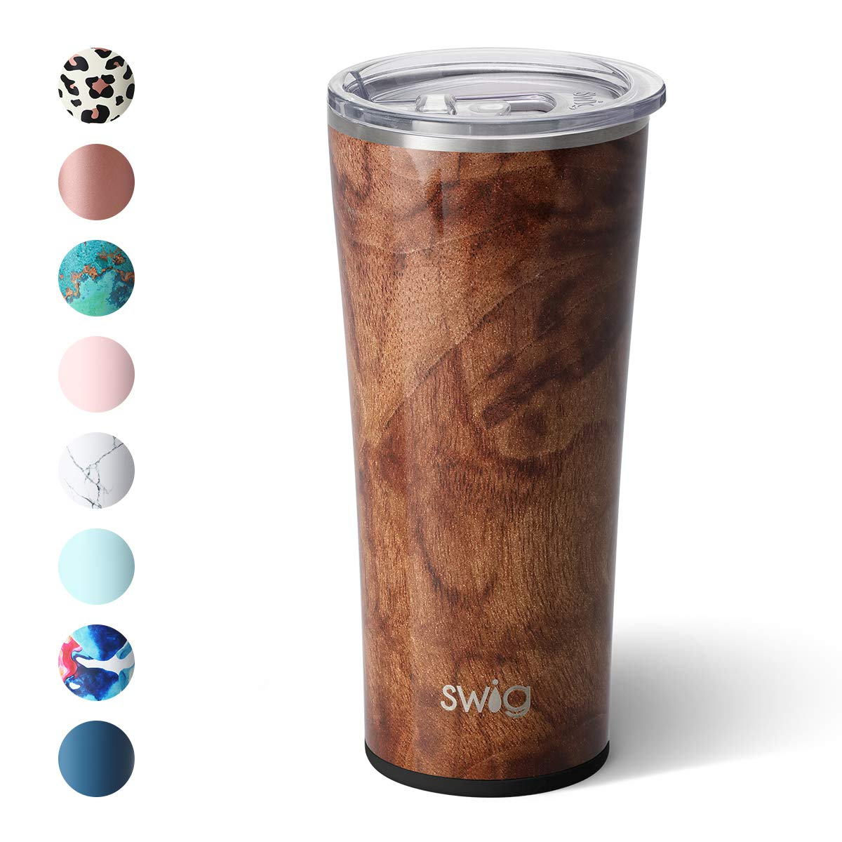 Swig Life 22oz Triple Insulated Stainless Steel Skinny Tumbler with Lid, Dishwasher Safe, Double Wall, and Vacuum Sealed Travel Coffee Tumbler in our Black Walnut Pattern (Multiple Patterns Available)