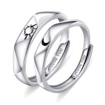 Beydodo 925 Sterling Silver Rings Engagement Couple Rings Sun and Moon 2In1 I Love You Rings Adjustable Custom