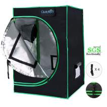 """Quictent SGS Approved Eco-Friendly Reflective Mylar Hydroponic Grow Tent with Heavy Duty Anti-Burst Zipper and Waterproof Floor Tray for Indoor Plant Growing (24""""x24""""x36"""")"""