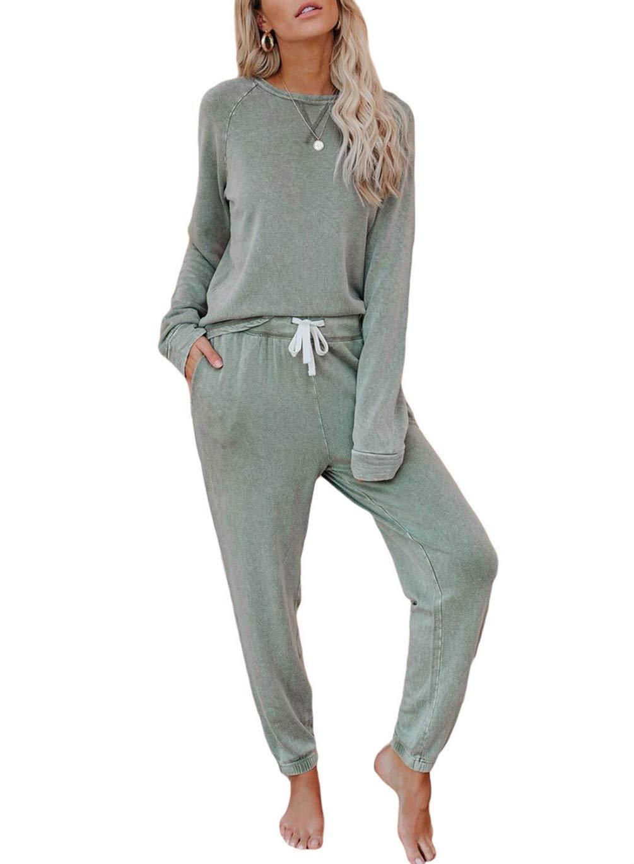 HUUSA Womens Tie Dye Long Sleeve Tops and Pants Loungewear Sets Joggers Pajamas