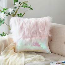 HmiL-U Throw Pillow Covers Reversible Sequins Mermaid + Faux Fur Decorative Pillows Cushion Case for Sofa Bedroom Car New Luxury Series Style 16 x 16 Inch 40 x 40 cm (Pink-1 Pc)