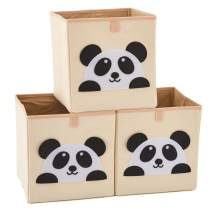 EZOWare Set of 3 Foldable Fabric Basket Bin, Collapsible Storage Cube for Nursery Home, Kids and Toddlers (10.5 x 10.5 x 11 inch, Panda)
