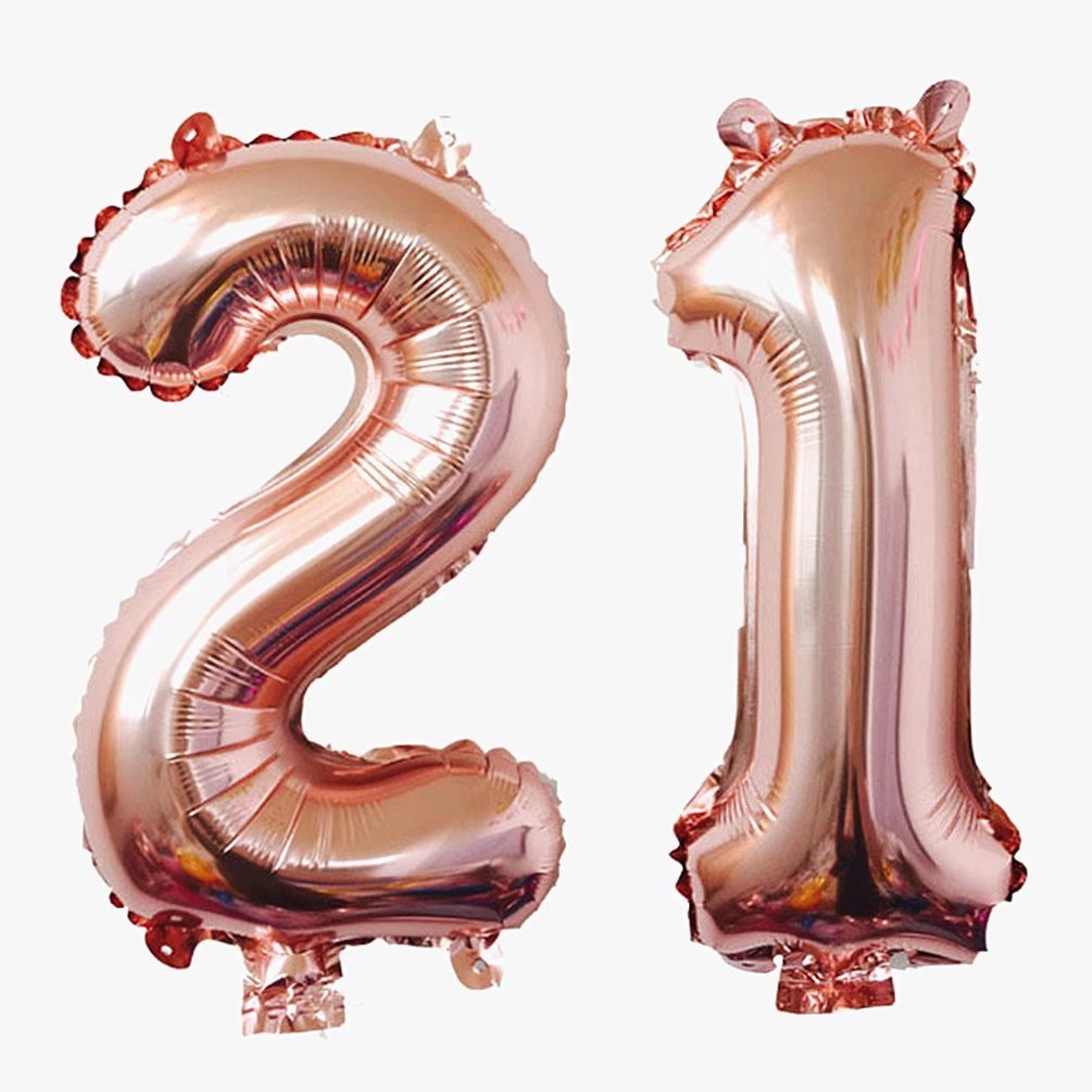 KEYYOOMY Jumbo Number 21 Mylar Balloons Rose Gold 21th Big Foil Number Balloon for 21 Birthday Party Anniversary Celebrate Parties Decoration (40 inch, Rose Gold Color)