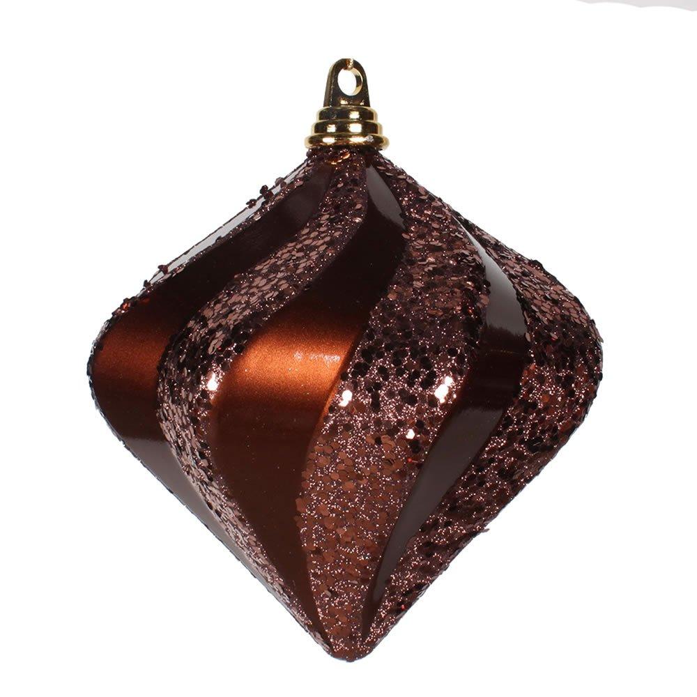 Vickerman Shatterproof Candy Finish Glitter Swirl Diamond Christmas Ornament, 8'', Chocolate