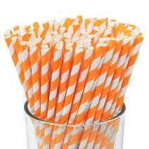 Just Artifacts 100pcs Premium Biodegradable Striped Paper Straws (Striped, Orange)
