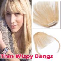 """Clip in Human Hair Bangs with Temples Thin Clip on Wispy Fringe Extensions Flat Air Fringe for Women One-piece 5"""" Hairpiece #613 Bleach Blonde"""