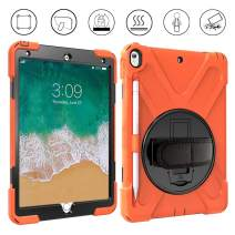 Gzerma - 2019 iPad Air 3 10.5-inch Case - with Pencil Holder, Shoulder/Hand Strap, 360 Degree Rotatable Kickstand, Shockproof Protective Cover for iPad Air 10.5 2019/iPad Pro 10.5 2017 Case, Orange