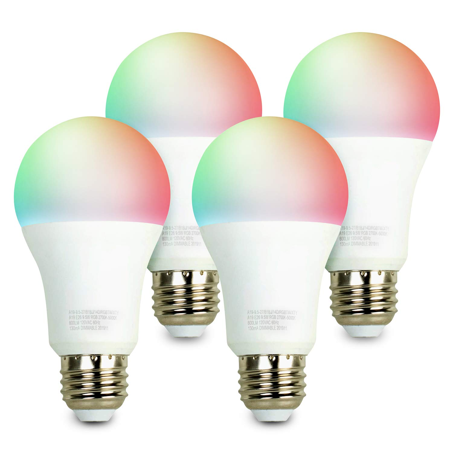 iBRIGHT Smart WiFi LED Light Bulb, 9.5W (60W Equivalent) 800 lumens A19 E26 Dimmable Multicolor 120VAC 2700K-5000K RGB, No Hub Required (Works with Amazon Alexa & Google Assistant) 4 Pack