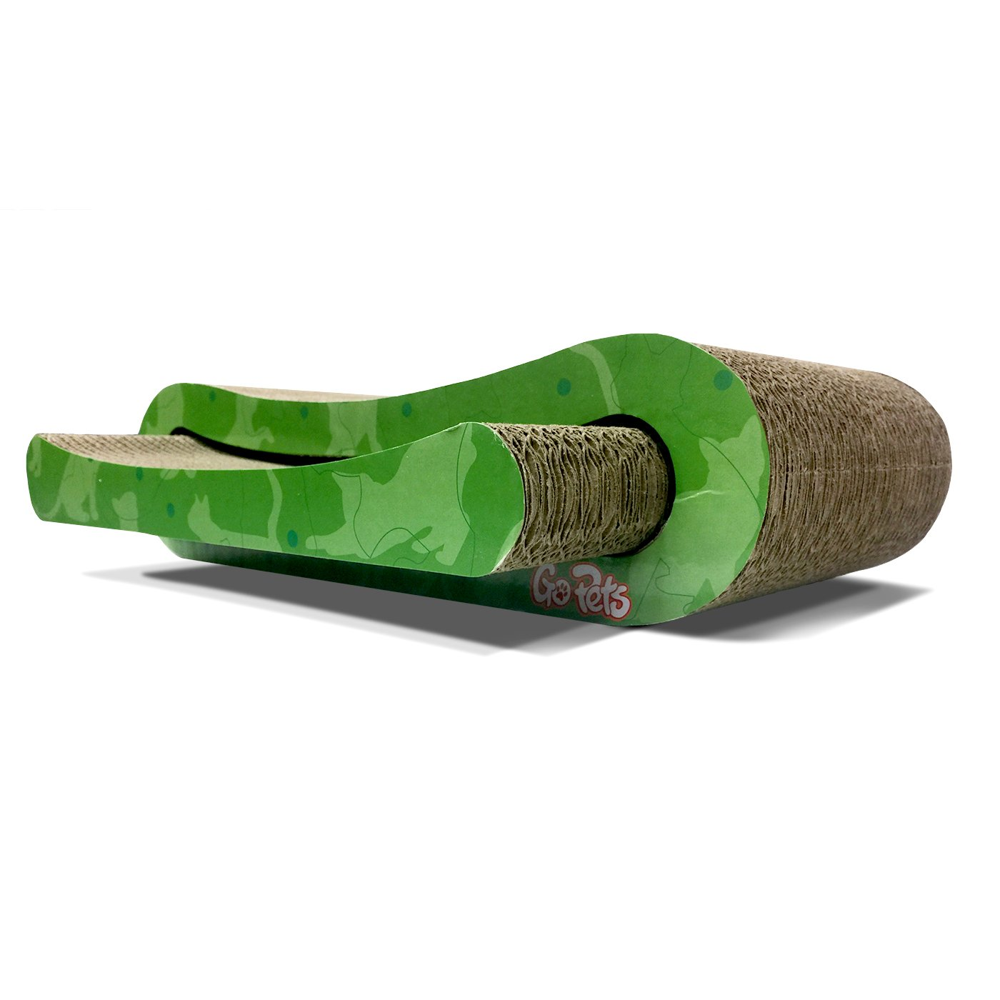 GoPets Premium Cat Scratcher, Infinity Lounge Corrugated Cardboard is Reversible with Additional Insert to Last 4X Longer, Includes 1 Pack Catnip, Ergonomic Scratching Post, Cutouts to Hide Toys