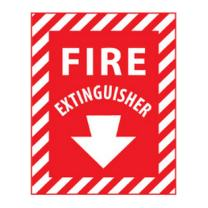 NMC FXPSER FIRE EXTINGUISHER Sign - 9 in. x 12 in. Rigid Plastic Fire Safety Sign with Arrow, White Text on Red Base