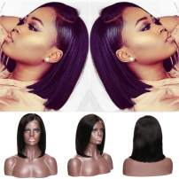 Bob Lace Front Wigs Human Hair With Baby Hair Pre-Plucked Hairline Glueless Natural Black Lace Wigs Density 130% For Black Women Daily Dress (10 inch Straight, Side Part)