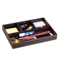 YAPISHI Drawer Organizer Mens Nightstand Valet Trays, PU Leather Desk Supply Organizer 4 Compartments Desktop Storage Box for Office Stationery/Business Card/Keys/Watches/Coins/Jewelry/Phone (Brown)
