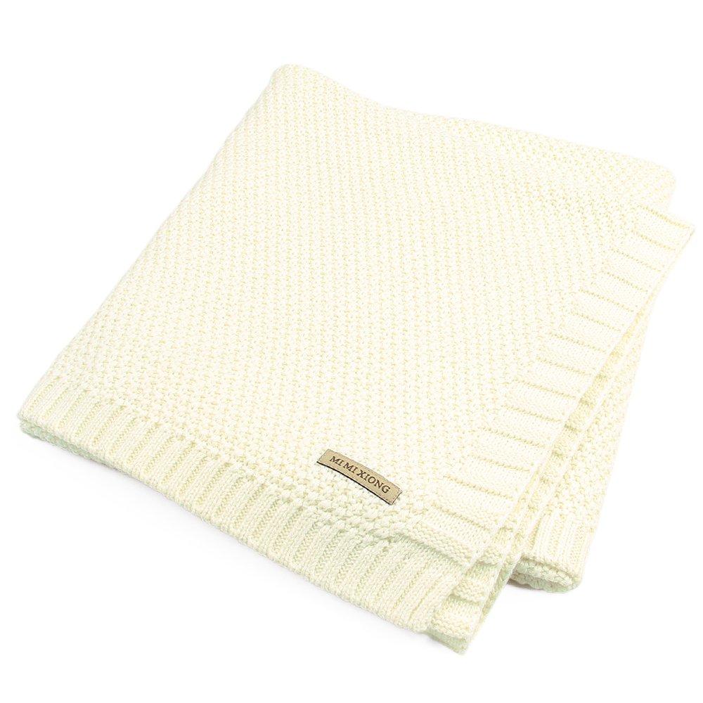 SOBOWO Baby Swaddle Blanket, Babies Knit Soft Wrap Stroller Blankets for Infant Girls Boys Cribs, Nursing(Beige)