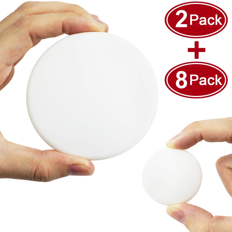 """Door Stopper Wall Protector (10 Pack), Door Stopper Bumper Door Knob Guard Silicon 3M Self Adhesive Prevent Damage to Wall, Doorknobs, Refrigerator Door 3.15"""" 2 Pack+1.57"""" 8 Pack, White"""