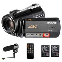 Camcorder 4K ORDRO HDR-AC5 UHD Video Camera 12X Optical Zoom 1080P 60FPS 3.1'' IPS Touch Screen WiFi Camera Camcorders with Microphone and 2 Batteries