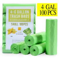 Small Trash Bags 4 Gallon Biodegradable, Unscented Recycling Garbage Bags Strong Tear & Leak Resistant, Eco-Friendly Compostable Trash Can Wastebasket Liners for Office Bathroom Kitchen Car (100 cts)