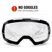 Odoland Ski Goggles Set with Detachable Lens, Frameless Interchangeable Lens, Anti-Fog 100% UV Protection Snow Goggles for Men and Women, Helmet Compatible-Lens Only