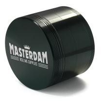 Masterdam Grinders Premium Large 2.5 Inch Herb Grinder with Pollen Catcher - 4 Piece  Black Aluminum