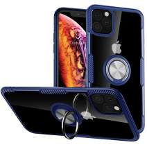 iPhone 11 Case, Full Body Heavy Duty Crystal Clear Protective Anti-Scratch Shockproof Case [Work with Magnetic Car Mount] with 360 Degree Rotation Ring Holder Stand for iPhone 11,Blue