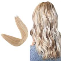 "Easyouth 22"" Remy Human Hair Tape Hair Extensions Color #27 Honey Blonde Highlights With #22 Skin Weft Silky Straight Hair Invisible Tape Extensions 50 Gram 20 Pieces Per Pack Glue In Hair"