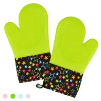 CAKETIME Silicone Oven Mitts - High Heat Resistant Cooking Mitts with Soft Quilted Cotton Liner BPA Free 1 Pair Green