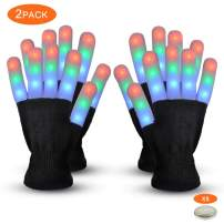 Gimilife Led Gloves, Light Up Gloves,Flashing Warm LED Skeleton Gloves Adult Kids for Birthday Christmas Halloween Club Party Supplies,Finger Light Toys for 4-5 Year Old Boys(2 Pack Black)