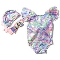 Baby Girl Mermaid Bikini Swimsuit Color Beach Swimsuit Ruffles Bathing Suit Swimwear+Headband 3 Pcs Set