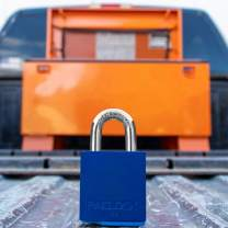 PACLOCK's Job-Box-Lock Series Padlock, Buy American Act Compliant, Blue Anodized Aluminum, High Security 6-Pin Cylinder, One Lock Keyed to #26538 w/ 2 Keys, Hard. Stainless Shackle