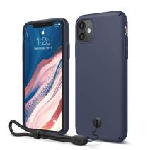 elago iPhone 11 Slim Fit Case with Attachable Wrist Strap/Lanyard, Slim, Light, Matte Coating, Camera and Screen Protection Designed for iPhone 11 Case [Jean Indigo]