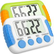 Classroom Or Meeting Timers 2 Pack for Kids and Teacher Digital Kitchen Timer, Count-Up & Count Down for Cooking Baking Sports Games Office Study