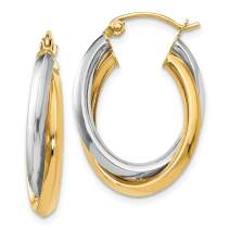 14k Two Tone Yellow Gold Oval Hinged Hoop Earrings Ear Hoops Set Fine Mothers Day Jewelry For Women Gifts For Her