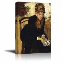 """wall26 - Portrait of Mary Cassatt by Edgar Degas - Canvas Print Wall Art Famous Painting Reproduction - 24"""" x 36"""""""