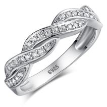 Zetaur 925 Sterling Silver Created White Topaz Twisted Infinity Band Ring