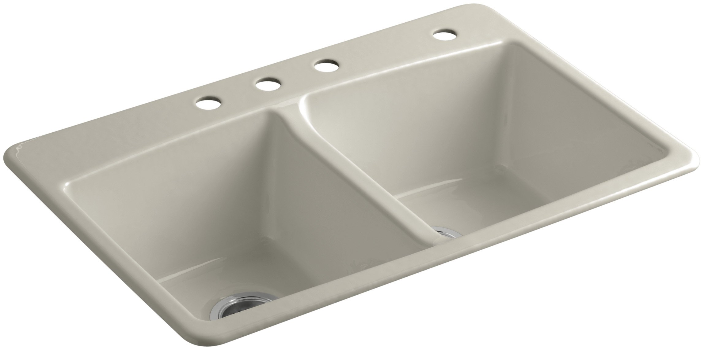 KOHLER K-5846-4-G9 Brookfield 33-Inch x 22-Inch Top-Mount Double-Equal Kitchen Sink with Four Faucet Holes, Sandbar